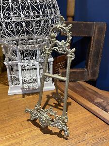 Vintage Art Nouveau Ornate Brass Easel Art Holder Picture Stand