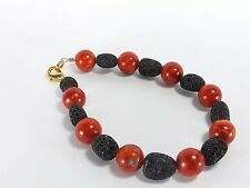 Red Sponge Coral and Lava Rock Bead Bracelet (EA5534) hand cut polished craft