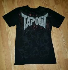 Tapout Black Red Skulls Short Sleeve MMA TShirt Size M Medium Back Graphic