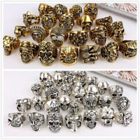 50pcs Skull Gold Silver Antique skeleton Wholesale Men's Gothic Biker Punk Rings