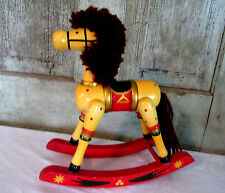Sweet Primitive Wood Wooden Christmas Rocking Horse Home Decor Toy Red Yellow