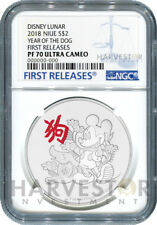 2018 DISNEY LUNAR - YEAR OF THE DOG - NGC PF70 FIRST RELEASES - W/OGP