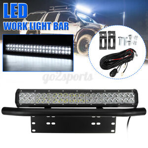 "20"" Spot Work LED Light Bar Driving Lights 23'' License Plate Bull Bar + Wire AU"