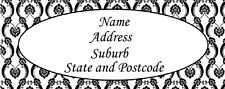 30 Personalised Quality Plus Adhesive Address Labels- Black Paisley Background