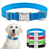 Safety Reflective Nylon Pet Dog Collars Small Big Metal Buckle S M L XL