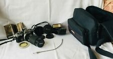 OLYMPUS OM2N 35MM FILM CAMERA 3 LENSES ELECTRONIC FLASH, FILTERS, CASE  FREE P&P