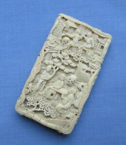 Vintage Chinese Deeply Carved Miniature Ivorene Card Case/Village Scenes