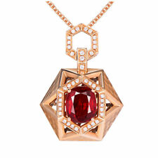 Cushion Cut 2.09TCW Natural Ruby Diamond Pendant Excludes Necklace 14K Rose Gold