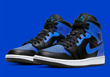 Nike Air Jordan 1 Mid Shoes Black Hyper Royal White 554724-077 Men's Or GS NEW