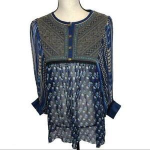 Label Ritu Kumar blue floral India ethnic blouse womens medium
