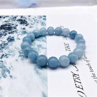 6/8/10MM Natural Blue Aquamarine Gemstone Beads Stretchy Bangle Bracelet Gift