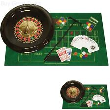 "16"" Roulette Wheel Vegas Casino Table Set Accessories Cards Chips"