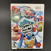 NINTENDO WII FAMILY GAME NIGHT 3 COMPLETE CIB NICE TESTED WORKING FREE SHIPPING