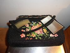 Vintage Beaded purse handmade in Hong Kong Needlepoint 6.5 x 9.5 small