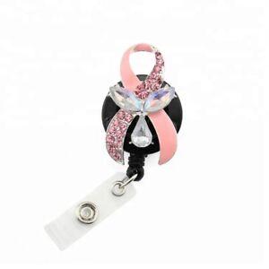 Pink Ribbon Shape Medical Badge Reel Holder Breast Cancer Awareness Badge Reel