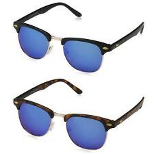 Occhiali da sole da uomo blu metallo e plastici a specchio