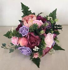 Mariage mixte fleur rose lilas mariée bouquet vintage country rose pivoine feuillage