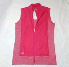 Adidas Women's Full Zip Athletic Golf Vest Jacket Pink Small NEW MSRP 75.00 NWT