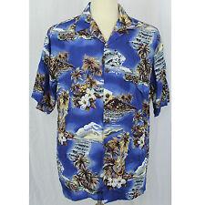 Hilo Hattie Hawaiian Camp Aloha Palms Hibiscus Ukelele Blue Shirt Men Size L EUC