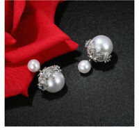 Earrings Double Pearl White Bottle Snow Is Gold Cz Encrusted G3 67