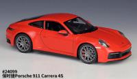 Welly 1:24 Porsche 911 Carrera 4S Orange Diecast Model Sports Racing Car