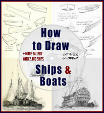 How to Draw & Sketch Ships & Boats 15 Rare Books.+Plus Bonus 2,400 Image Gallery