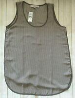 Ann Taylor LOFT Tank Top Cami XS Small Sleeveless Blouse Gray Taupe White $55