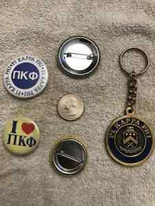 Pi Kappa Phi Medallion Key Chain Ring w/ 2 Buttons NOS VINTAGE RETIRED