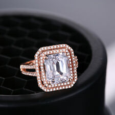 10x8mm Emerald 4.0ct White Topaz Natural Diamonds Double Halo Ring 18K Rose Gold
