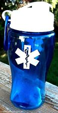 EMS STAR OF LIFE WATER BOTTLE with Flip Lid and Carabiner- FITS CUP HOLDERS