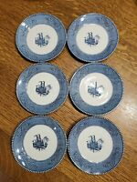 Currier and Ives Vintage Royal Blue & White Steamboat Saucers LOT OF 6