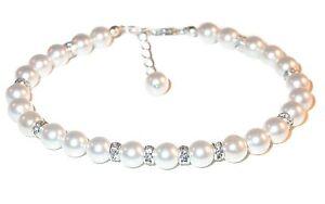 WHITE Pearl Bracelet Sterling Silver Bride's Bridal Swarovski Elements