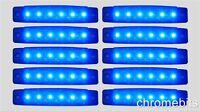 10 pcs BLUE 24V 24 VOLT 6 LED Side Marker Indicators Lights Truck Trailer Bus