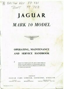 JAGUAR MKX MK10 3.8 SALOON '61-65 ORIG.OWNERS INSTRUCTION & MAINTENANCE HANDBOOK