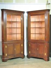 *PAIR* Henkel-Harris Virginia Galleries Solid Mahogany Federal Corner Cabinets