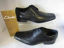 MENS CLARKS SHOES AZE DAY LACE UP BLACK FITTING G / WIDE LEATHER UPPER