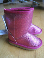 Toddler Girl HOT PINK FUCHSIA GLITTER CASUAL boots NWT 5