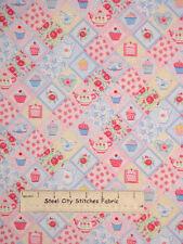 Makower UK Tea Party Harlequin Cupcake Cottage Rose Diamond Cotton Fabric YARD
