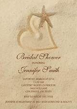 Bridal Shower Wedding Shower Invitation Any Colors Heart in Sand