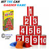 Hit The Tin Can Alley Garden Game Family 10 Tins 3 Bean Bags Indoor Outdoor New