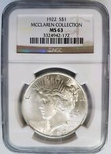 1922 Silver Peace Dollar NGC MS 63 McClaren Collection Pedigree Hoard Coin L@@K