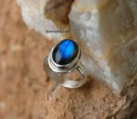 Solid 925 Sterling Silver Ring Delicate Silver Ring Handmade Labradorite Ring ,