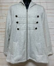 Torrid Military Jacket Coat Women's Size 2 Heather Gray Zipper Hooded Pockets