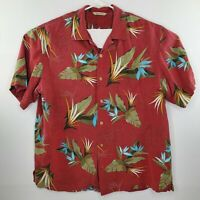 Paradise Collection Mens Silk Hawaiian Shirt Size Large Dark Red Green Leaves