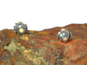 MOONSTONE  Edelstein Sterling Silber 925 Ohrringe / STUDS - 5 mm