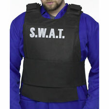 SWAT Police Special Forces Vest & Handcuffs Men's Fancy Dress Costume One Size
