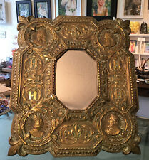 Rare Antique Fleur de Lys French Kings Bronze Mirror Charlemagne Henri IV c1860