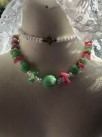 1930s Glass Necklace Flower Green Pink Vintage Retro Jewelry Jewellery Art Deco