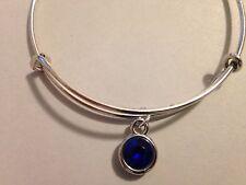 Birthstone Bracelet Crystal Charm Thin Bangle SEPTEMBER Silver Dark Blue Simple
