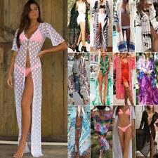 Dame Badeanzug Strand Longbluse Kimono Blusen Wear Bikini Cover Up Cardigan Neu
